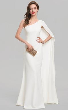 Vestido tubo Un hombro Hasta el suelo Crepé Elástico Vestido de novia (002207425)