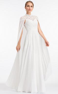 Corte A Cuello alto Hasta el suelo Gasa Vestido de novia (002207443)