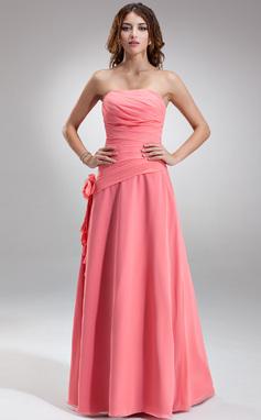 A-linjainen/Prinsessa Olkaimeton Lattiaa hipova pituus Sifonki Morsiusneitojen mekko jossa Rypytys Kukka(t) (007001081)