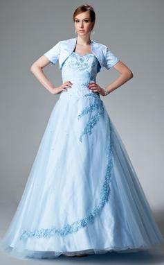 Tanssiaismekot Kullanmuru Lattiaa hipova pituus Tylli Quinceanera mekko jossa Rypytys Helmikuvoinnit Applikaatiot Pitsi (021004551)