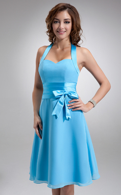 A-linjainen/Prinsessa Niskalenkillä Polvipituinen Sifonki Morsiusneitojen mekko jossa Rypytys Rusetti (007000937)