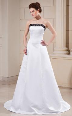 Corte A/Princesa Sin tirantes Cola corte Satén Vestido de novia con Fajas Cuentas (002000068)