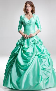 Tanssiaismekot Kullanmuru Lattiaa hipova pituus Tafti Quinceanera mekko jossa Rypytys Helmikuvoinnit Kukka(t) (021002859)