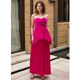 Vestido tubo Novio Hasta el tobillo Dama de honor embarazada con Cascada de volantes (007027254)
