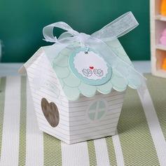 En Forma de Casa Lindo Perlas del papel Cajas y contenedores/Cajas de la magdalena con Cintas (Juego de 12) (050032973)