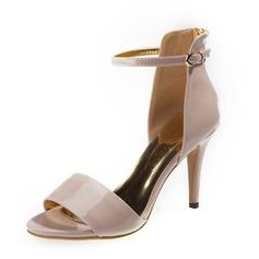 Piel brillante Tacón stilettos Sandalias Salón Encaje con Hebilla zapatos (087059902)