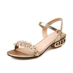 De mujer Piel Tacón bajo Sandalias Solo correa con Rhinestone zapatos (087063357)