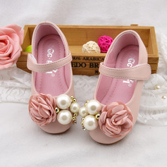 Muchacha Encaje Mary Jane Kunstleder Talón plano Zapatos de niña de las flores con Perlas de imitación Arco del satén Velcro (207111952)
