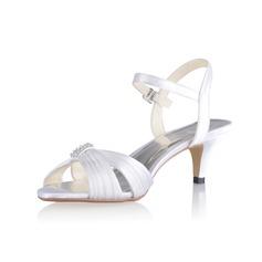 Naisten silkki kuten satiini Cone heel Sandaalit Kantiohihnakengät jossa Solki (047026750)