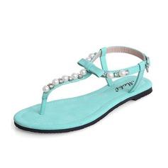 Cuero Tacón plano Sandalias Solo correa con Perlas de imitación zapatos (087063140)