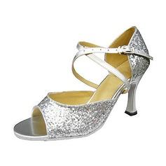 De mujer Brillo Chispeante Tacones Sandalias Danza latina con Tira de tobillo Zapatos de danza (053013043)